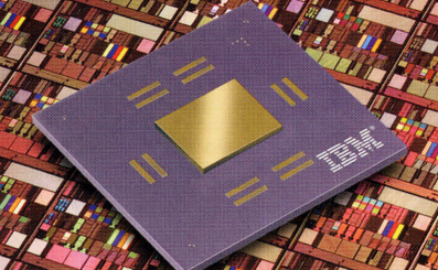 World's first 'copper chip' is a fully functional CMOS 7S microprocessor module on top of a copper wafer. Source: IBM