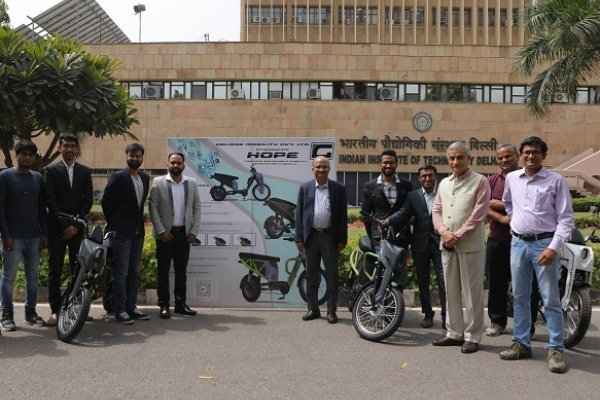 Aditya Tiwari (fourth from left) and Professor V. Ram Gopal Rao, Director, IIT Delhi (fifth from left) during the launch of Hope.